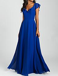 cheap -A-Line V Neck Floor Length Chiffon Bridesmaid Dress with Pleats / Ruffles