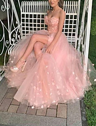 cheap -A-Line Sexy Floral Engagement Formal Evening Dress Sweetheart Neckline Sleeveless Asymmetrical Tulle with Pleats Overskirt 2021