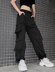 cheap -Women's Streetwear Chino Comfort Tactical Cargo Cotton Loose Casual Weekend Pants Plain Full Length High Waist Black Red