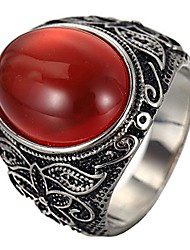 cheap -men's stainless steel oval gemstone ring vintage flower carved wedding band silver black red size 8