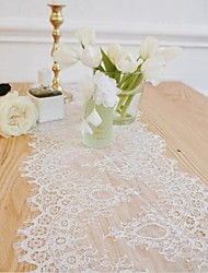 cheap -Table Cloth Cotton Christmas Lace Solid Colored Tabel cover Table decorations for Christmas rectangule 35*300 cm White lace table runner 1 pcs