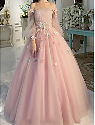 cheap -Ball Gown Elegant Floral Quinceanera Prom Dress Off Shoulder Long Sleeve Floor Length Tulle with Pleats Appliques 2021