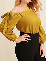 cheap -Women's Plus Size Tops Blouse Lace up Asymmetric Plain Large Size Off Shoulder Long Sleeve Streetwear Big Size L XL XXL XXXL 4XL Yellow Navy Blue