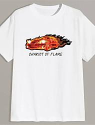 cheap -Men's Unisex T shirt Hot Stamping Graphic Prints Car Mahjong Plus Size Print Short Sleeve Daily Tops 100% Cotton Basic Fashion Classic White