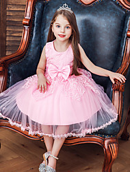 cheap -Princess / Ball Gown Tea Length Wedding / Party Flower Girl Dresses - Tulle Sleeveless Jewel Neck with Lace / Bow(s)