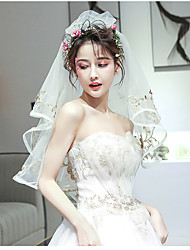 cheap -Two-tier Sweet Style Wedding Veil Elbow Veils with Pattern Tulle