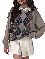 cheap -womens argyle sweater long sleeve england style sweater tops fall pullover sweater (brown, l)