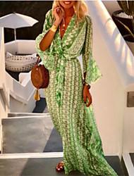 cheap -Women's Swing Dress Maxi long Dress Blushing Pink Green 3/4 Length Sleeve Geometric Print Spring Summer V Neck Boho Flare Cuff Sleeve 2021 S M L XL XXL 3XL
