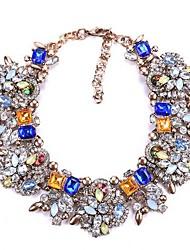 cheap -Women's Cubic Zirconia Collar Necklace Statement Imitation Diamond Alloy White Black Blue Purple Rainbow 43+7 cm Necklace Jewelry 1pc For Engagement Birthday Party Festival