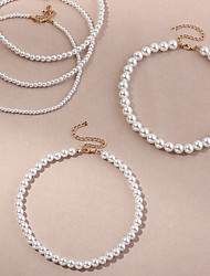 cheap -Women's Beaded Necklace Classic Love Romantic Fashion Freshwater Pearl White 20 cm Necklace Jewelry 1pc For Wedding Engagement Festival