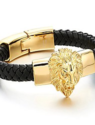 cheap -Mens Large Braided Leather Bracelet with Steel Gold Color Lion and Black Genuine Leather Straps