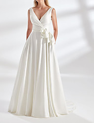 cheap -A-Line Wedding Dresses V Neck Floor Length Satin Sleeveless Simple with Bow(s) Ruched 2021