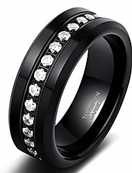 cheap -trumium 8mm mens cz rings black tungsten wedding band simulated diamond inlay channel set high polished comfort fit size 8.5