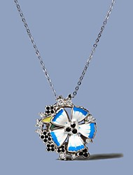 cheap -Women's Black AAA Cubic Zirconia Necklace Monogram Flower Shape Elegant Rustic Boho Brass Resin Silver 50 cm Necklace Jewelry 1pc For Birthday Party Beach Festival