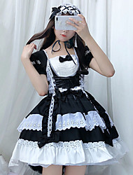 cheap -Lolita Maid Uniforms Cute Dress Women's Japanese Cosplay Costumes Black / Pink / Sky Blue Solid Colored Long Sleeve Above Knee / Apron