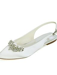 cheap -Women's Wedding Shoes Flat Heel Pointed Toe Wedding Flats Satin Rhinestone Solid Colored White Black Purple