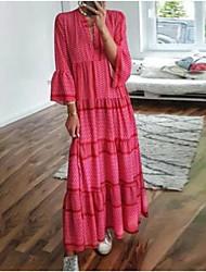 cheap -Women's Swing Dress Maxi long Dress Red 3/4 Length Sleeve Geometric Patchwork Print Spring Summer V Neck Casual Boho Holiday Flare Cuff Sleeve Loose 2021 S M L XL XXL 3XL