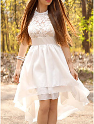 cheap -A-Line Wedding Dresses High Neck Asymmetrical Short / Mini Lace Satin Sleeveless Country Romantic Beach with Appliques 2021