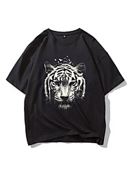 cheap -Men's T shirt Hot Stamping Tiger Animal Print Short Sleeve Casual Tops 100% Cotton Basic Casual Fashion Black