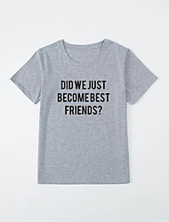 cheap -Men's Unisex T shirt Hot Stamping Letter Plus Size Print Short Sleeve Casual Tops 100% Cotton Basic Casual Fashion Gray