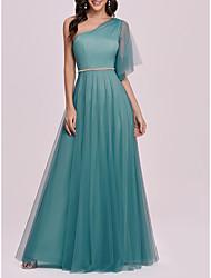 cheap -Women's A Line Dress Maxi long Dress Dusty Blue Half Sleeve Solid Color Spring Summer Elegant Vintage 2021 S M L XL XXL 3XL 4XL 5XL 6XL 7XL