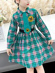 cheap -Kids Little Girls' Dress Plaid School Uniforms Green Knee-length Long Sleeve Sweet Dresses Children's Day Slim 3-13 Years
