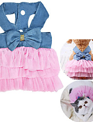 cheap -Cat Dog Dress Tuxedo Puppy Clothes Princess Cowboy Casual / Daily Wedding Party Dog Clothes Puppy Clothes Dog Outfits White Pink Costume for Girl and Boy Dog Chiffon Denim XS S M L XL XXL