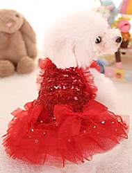 cheap -Dog Cat Dress Adorable Dog Clothes Puppy Clothes Dog Outfits Red Pink Costume for Girl and Boy Dog Polyester S M L