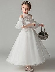 cheap -Princess Ankle Length Event / Party / First Communion Flower Girl Dresses - Tulle Short Sleeve / Sleeveless High Neck with Beading / Appliques / Solid