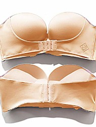 cheap -women's slightly lined lift support invisible seamless plunge strapless bra with front/back buckle smooth bra pack of 1/2 (38c, beige)