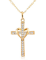 cheap -10k yellow gold heart & cross pendant with an 18 inch gold overlay figaro necklace (go-649)