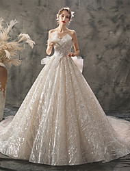 cheap -Princess Ball Gown Wedding Dresses Strapless Chapel Train Lace Tulle Sequined Sleeveless Formal Luxurious Sparkle & Shine with Bow(s) Appliques 2021