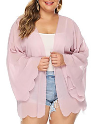 cheap -Women's Plus Size Blouse Shirt Solid Colored Long Sleeve V Neck Tops Loose Chiffon Basic Top Blushing Pink