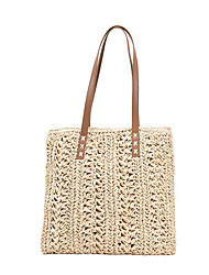 cheap -Women's Bags Top Handle Bag Straw Bag Daily Holiday Straw Bag Handbags Khaki Beige