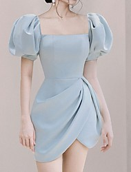 cheap -A-Line Vintage Sexy Homecoming Cocktail Party Dress Scoop Neck Short Sleeve Short / Mini Satin with Split 2021