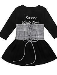 cheap -ins children's clothing girls letter printed dress lattice waist belt children two-piece children's suit