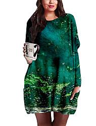 cheap -Women's Plus Size Print Print Casual Long Sleeve Green Spring &  Fall Short Mini Dress Shift Dress