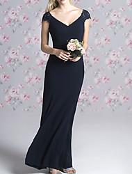 cheap -Sheath / Column V Neck Floor Length Chiffon Bridesmaid Dress with Appliques
