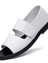 cheap -Men's Sandals Beach Roman Shoes Daily Nappa Leather Breathable Non-slipping Wear Proof White Black Summer