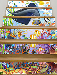 cheap -Creative 3d Staircase Sticker Oil Painting Underwater World Decoration Home Sticker Waterproof Wall Sticker