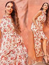 baratos -vestido floral feminino básico de comprimento total, vestido urbano de verão