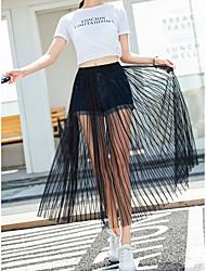 cheap -Women's Street Daily Streetwear Skirts Lines / Waves Black