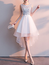 cheap -A-Line Jewel Neck Asymmetrical Tulle / Sequined Bridesmaid Dress with Sash / Ribbon / Bow(s) / Sequin