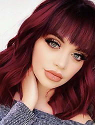 cheap -synthetic curly bob wig with bangs short bob wavy hair wig wine red color shoulder length wigs for women bob style heat synthetic resistant bob wigs (14inch)