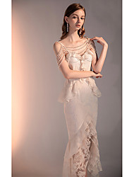 cheap -Two Piece Peplum Floral Cocktail Party Formal Evening Dress Spaghetti Strap Sleeveless Asymmetrical Lace with Pearls Ruffles 2021