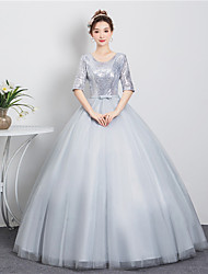 cheap -Ball Gown Sparkle Elegant Quinceanera Prom Dress Jewel Neck Half Sleeve Floor Length Tulle with Sash / Ribbon Sequin 2021
