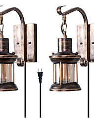 cheap -Rustic Wall Light 2-in-1 Oil Rubbed Bronze Vintage Wall Light Bedside Lamp Fixtures Hardwired Plug In Industrial Glass Shade Lantern Lighting Retro Lamp Metal Wall Sconce EU/US  Plug AC110V AC220V