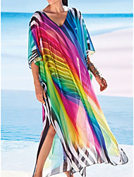 cheap -Women's Swimsuit Cover Up Beach Top Swimsuit Oversized Mesh Color Block Abstract Rainbow Swimwear T shirt Dress Tunic V Wire Bathing Suits New Fashion Sexy