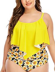 cheap -Women's Bikini 2 Piece Swimsuit Open Back Slim Color Block Geometric Black flower Yellow flower Plus Size Swimwear Padded Strap Bathing Suits New Fashion Sexy / Padded Bras