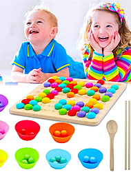 cheap -Wooden Peg Board Beads Game, Rainbow Clip Beads Puzzle, Early Education Puzzle Board Game for Kid